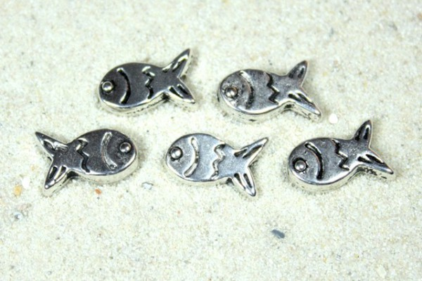 Metallperle, Motiv Fisch, versilbert, 12x8mm