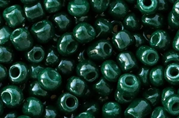 Rocailles, rund, dark leave green opaque, 15gr, 6/0, 4mm