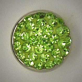 Mini Wechselschmuckknopf, Strass, hellgrün, ca. 13mm
