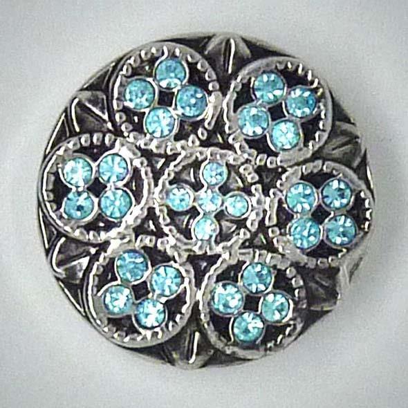 Zierdruckknopf, Blume, türkiser Strass, ca. 20mm