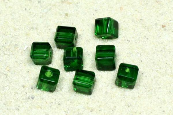 Glaswürfel mit Schliff, Emerald, 4x4mm