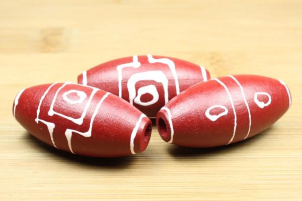 Holzperlen, Oliven, rot, handbemalt, 40x20mm