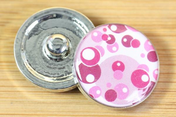 Druckknopf, lila-pinke Kreise, 20mm