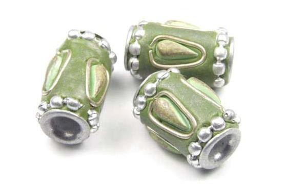 Kashmiri Perle, Röhrchen, grün, 17x10mm
