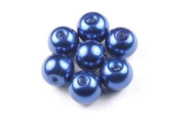 Glaswachsperlen, marineblau, 8mm