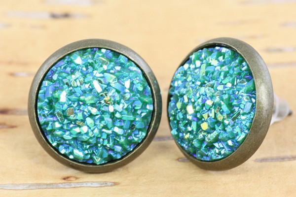 Cabochon Ohrstecker, Druzy, blau/grün-Schimmer, bronzefarben, 12mm