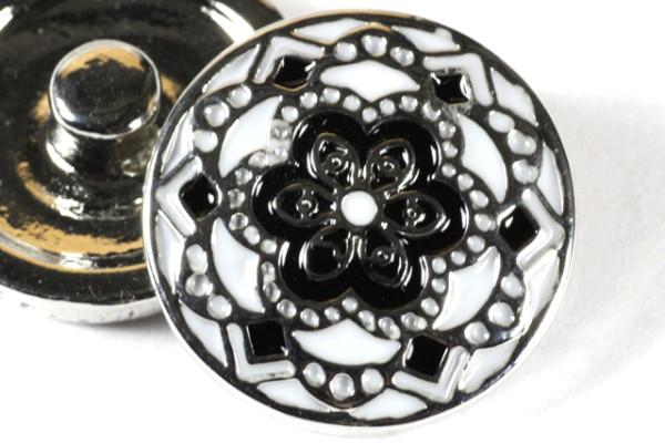 Druckknopf, schwarz/weiß/silber, 20mm