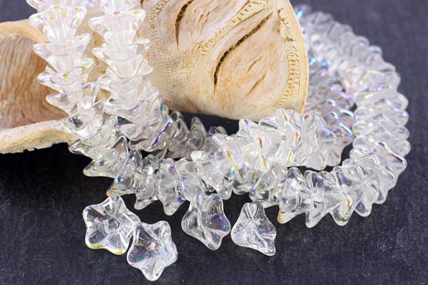 böhmische Glasperlen, Blütenkelch, transparent AB, 13x11mm