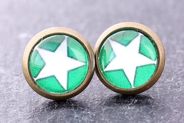 Cabochon Ohrstecker, Stern, bronzefarben, grün/weiß, 8mm