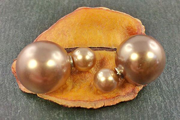 Doppel Perlen Ohrstecker, taupe braun glänzend, Perlen ca. 16 und 8mm