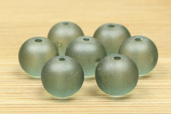 Glasperlen, satiniert, matt eisgrün, 8mm