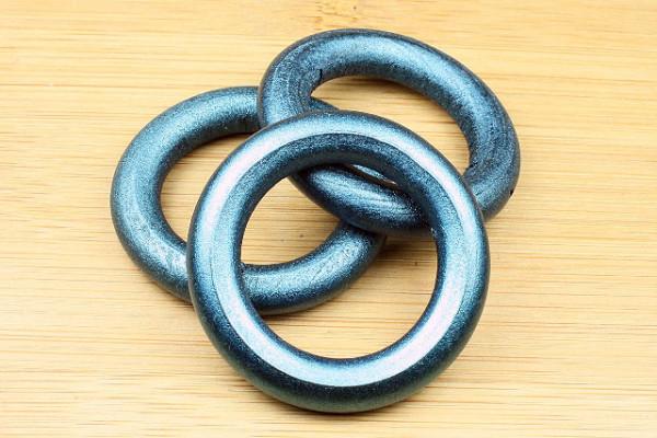 Holzringe, blau metallic, 40mm