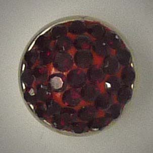 Mini Schmuckknopf, Strass, weinrot, ca. 13mm