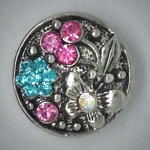 Druckknopf, Schmetterling und Blume, pink/türkis
