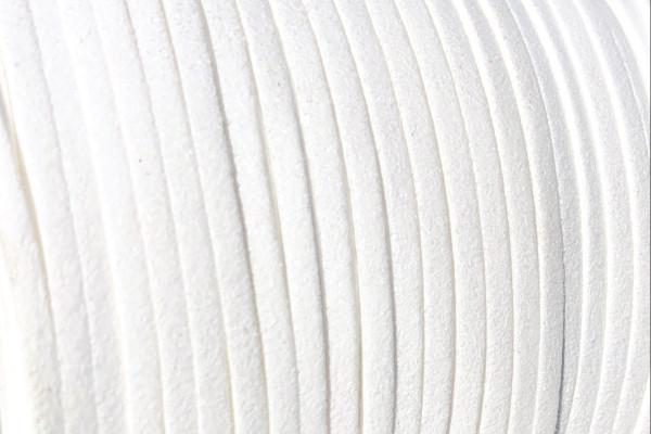 Veloursband in Wildlederoptik, flach, weiß, ca. 3x1.5mm