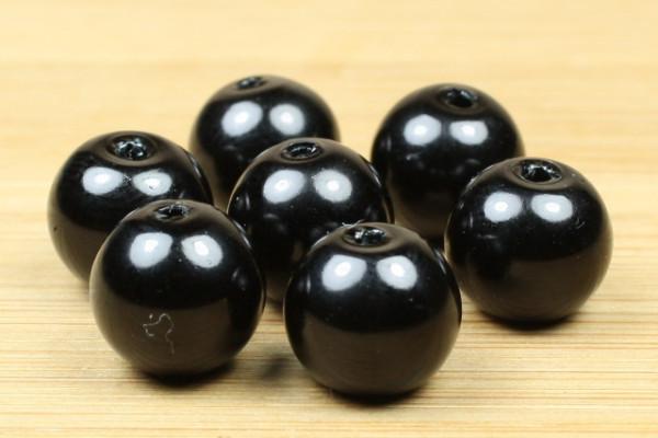 Glaswachsperlen, schwarz, 10mm