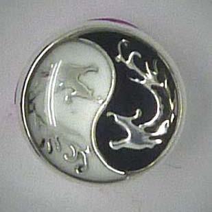 Mini Click-Button, Yin und Yang mit Drachen, ca. 12mm