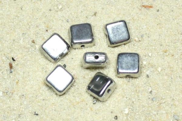 Quadrate, böhmische Glasperlen, silber, 5x5mm