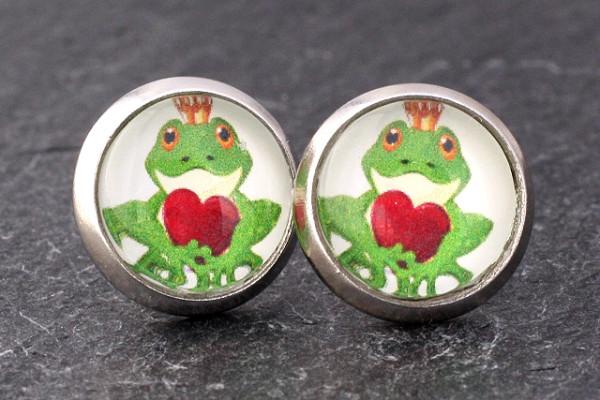 Motiv Ohrstecker, Frosch mit Herz, silberfarben, 10mm
