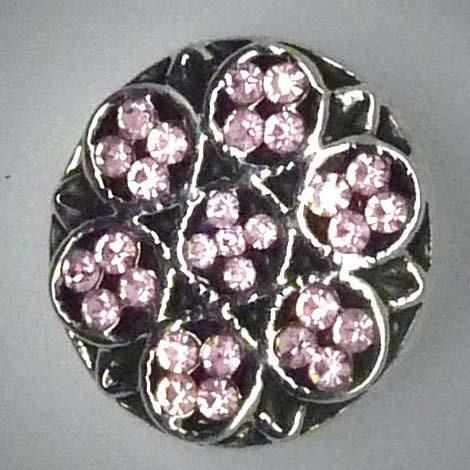 Druckknopf, Blume, rosa Strass, ca. 20mm