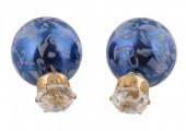 Doppelperlen Ohrringe, blau mit Verzierung, Perle und Facette