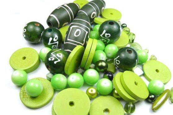 Konvolut, Perlenmix, grün