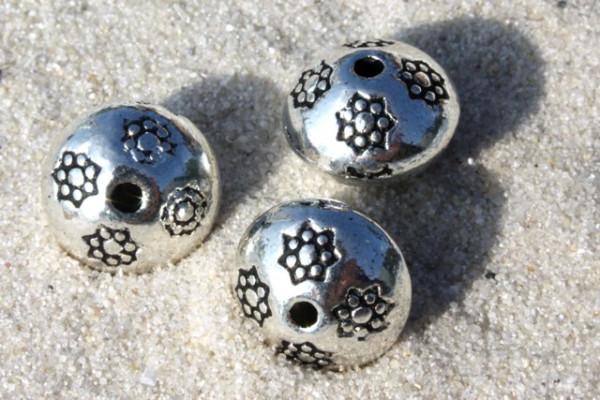 Metallperlen, Rondell mit Blütenmuster, versilbert, 10mm