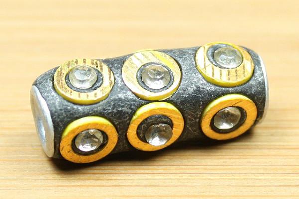 Kashmiri Perle, schwarz/gold, 28x12mm