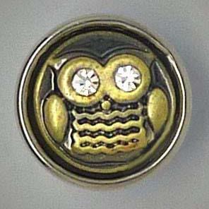 Mini Druckknopf, Eule mit transparenten Strass-Augen, ca. 12mm