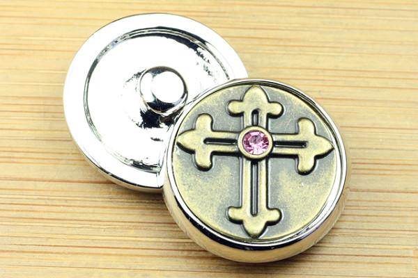 Click-Buttons, Kreuz mit rosa Strass, bronze, 20mm
