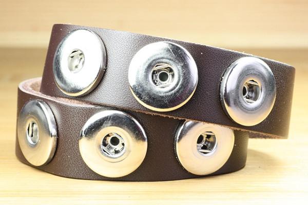 Wickelarmband aus Leder für 6 Druckknöpfe, braun, 44 x 2 cm