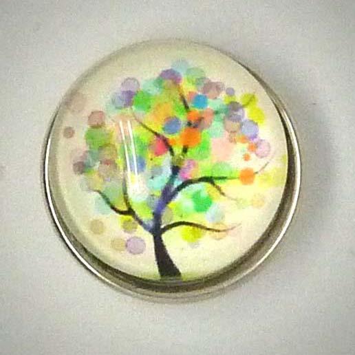 Druckknopf, Baum im Frühjahr, bunt, ca. 18mm