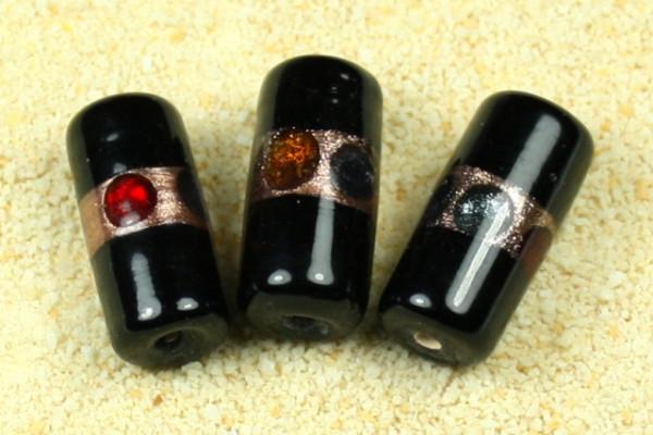 Lampenperlen, Walze, schwarz/bunt, 10x22mm