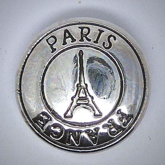 Druckknopf, Paris Motiv, silberfarben, ca. 20mm