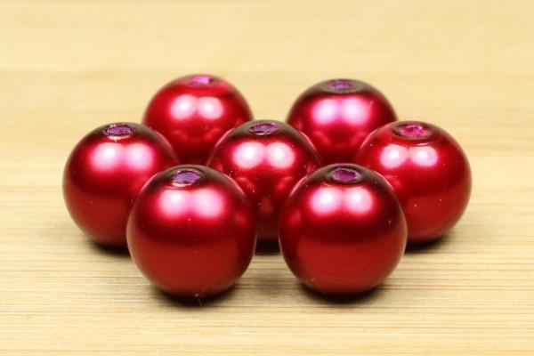 Glaswachsperlen, Crimsonrot, 10mm