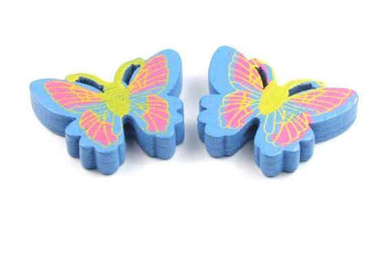 Holzperlen, Schmetterling, blau, 25x20x5mm