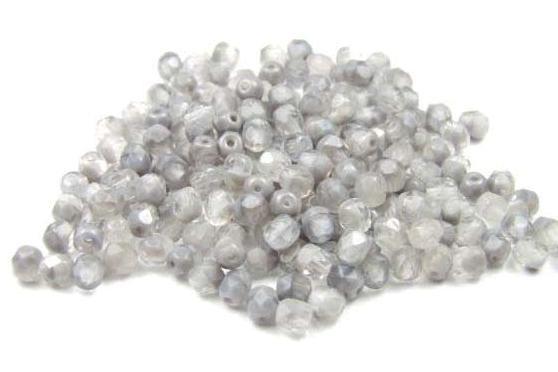 Glasschliffperlen, combi color, steingrau-grau, 4mm, 25 Stück