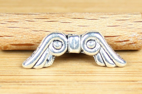 Metallperle, Engelsflügel, versilbert, 15mm