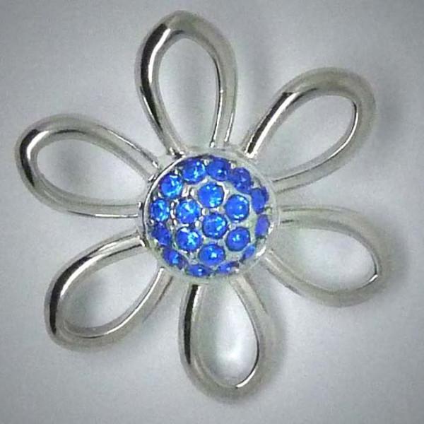 Schmuckdruckknopf, große Blume mit blauem Strass, 30mm