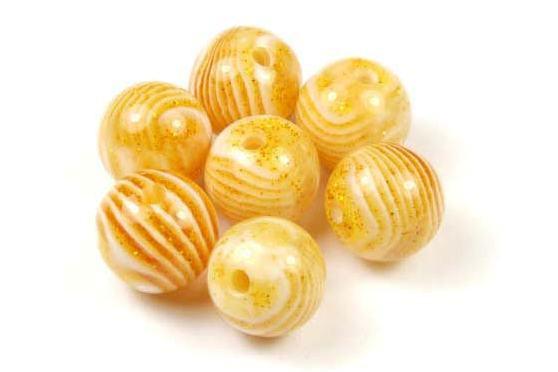 Acrylperlen, rund, goldgelb marmoriert, 10mm