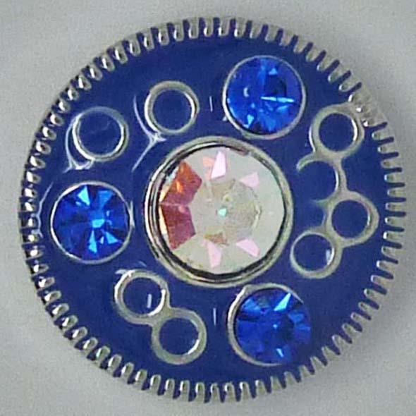 Druckknopf, Blume mit Strass, blau/transparent AB, ca. 20mm