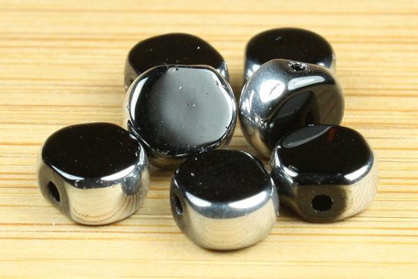 Glasperle mit Fassung, schwarz mit silber, 6mm