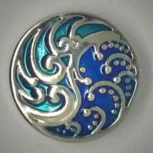 Druckknopf, Ornamente, blau/türkis/silber, ca. 20mm