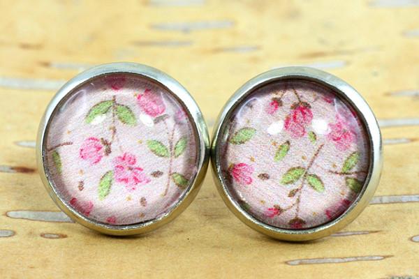 Ohrschmuck, Blumen Motiv, rosa/grün, silberfarben, 12mm