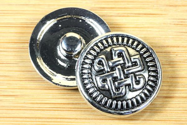 Druckknopf, keltischer Knoten, silberfarben-schwarz, ca. 20mm