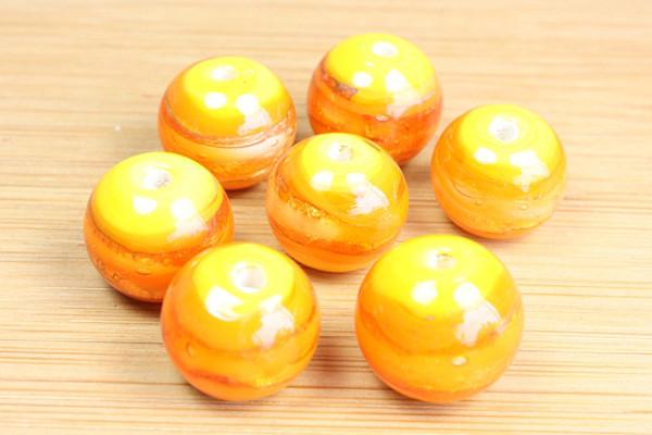 Lampenperle, Streifenmuster, gelb-orange, 12mm