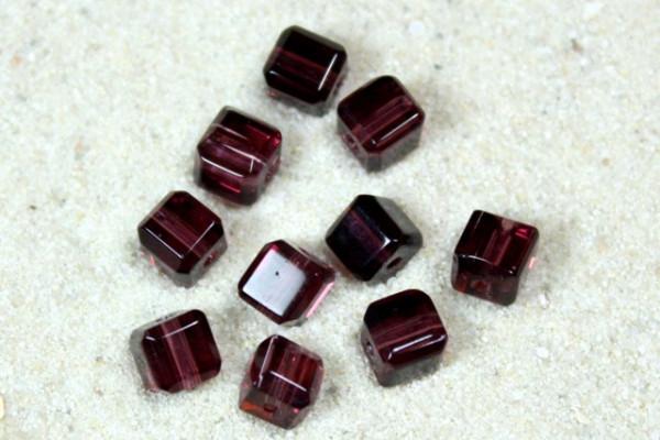 Glaswürfel mit Schliff, dark Amethyst, 4x4mm