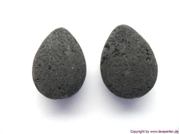 Lava-Tropfen, schwarz, naturbelassen, 20x15x8mm