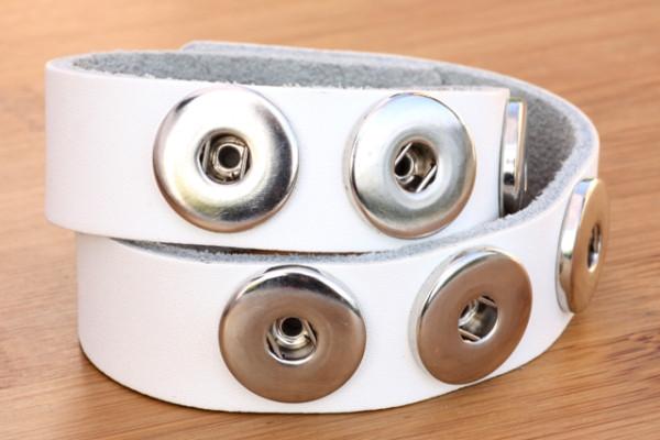 Wickelarmband aus Leder für 6 Druckknöpfe, weiß, 44 x 2 cm