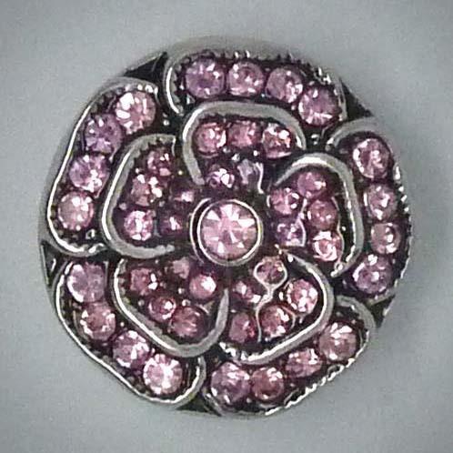 Druckknopf, Rose aus rosa Glassteinen, 20mm